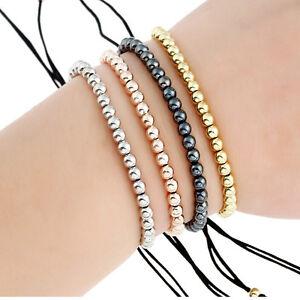 Frauen-Maenner-Kupfer-Perlen-Armband-geflochten-Wristband-gewebt-Armreifen-neu