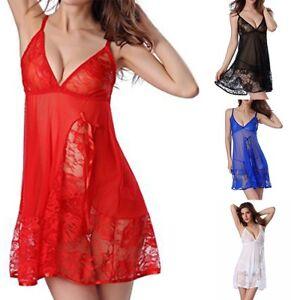 new product 09c9a df357 Details zu Damen Sexy Spitze Dessous G-String Kleid Set Nachtwäsche  Transparent Nachthemd