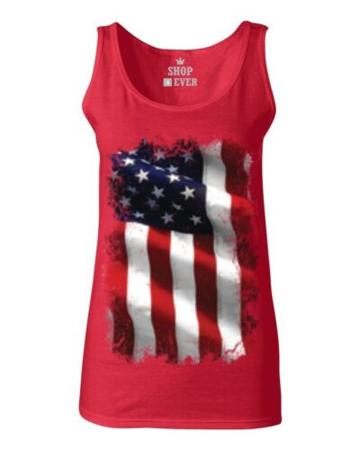 Large American Flag Patriotic Women/'s Tank Top 4th of July USA Flag Labor Tee