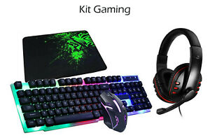 Kit completo gaming tastiera mouse cuffie tappetino 4 in 1 rgb gioco FO-D004