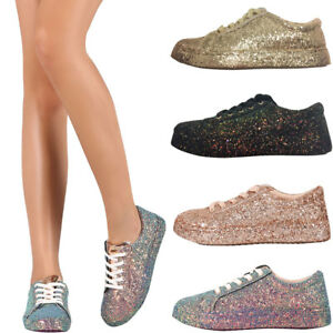 Women Iridescent Glitter Lace Up Gym Fitness Trainer Fashion Sneaker Shoes X924