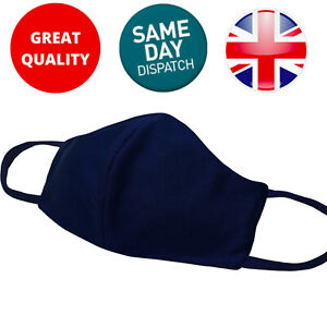 Face Mask Protective Covering Washable Reusable Black Adult Unisex Uk Navy Blue Ebay