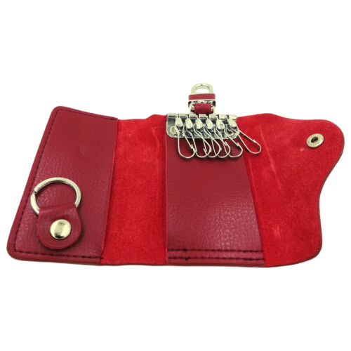 Leather Key Case Wallet Pouch 6 Snap Closure Hooks 1 Key Ring Card Slots Unisex