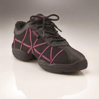 Capezio DS19 Web Dance Sneakers - size US8, UK6 - Black Hot Pink Jazz Trainers
