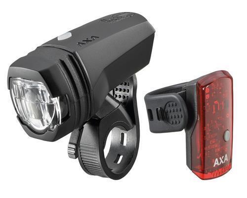 Axa verdeLINE 50 LedLichtset USB BATTERIA 50 LUX StVZO BICI BICICLETTA DA CORSA MTB RACE NUOVO