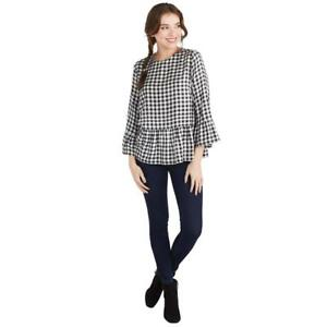 d0afc38a26f Mud Pie Womens Flora Flounce Shirt Black and White Check Gingham ...