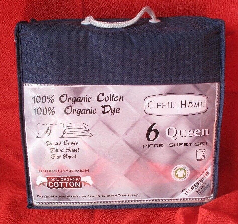 CIFELLI HOME 100% Organic Cotton & Dye Sheet Set 6pc (Queen, Khaki Beige)