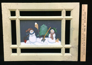 Image Is Loading Window Frame Painted Gl Wall Hanging Picture Winter