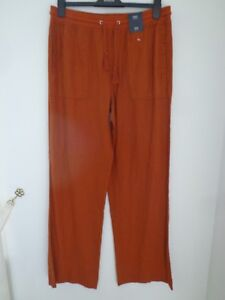 BNWT-LADIES-M-amp-S-COLLECTION-RANGE-LINEN-RICH-RUST-COLOURED-TROUSERS-SIZE-18-REGUL