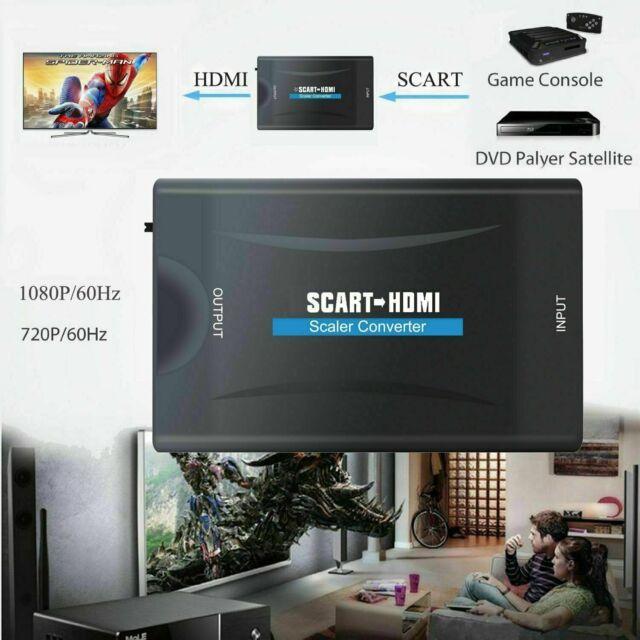 SCART auf HDMI Konverter Video Audio HD TV Adapter 1080P für DVD SKY + USB Kabel