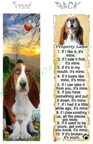 BASSET HOUND BOOKMARK DOG RULES Property LAWS Book Mark Card Ornament Figurine