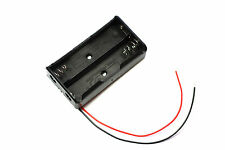 """Black Plastic Battery Storage Case Box Holder for 2x18650 with 6"""" Wire Leads"""
