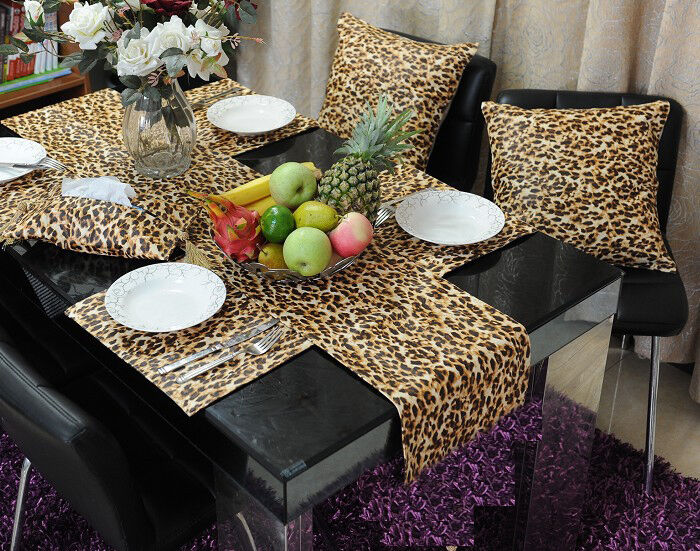 30 Leopard Table Runners 12''x108'' Safari Animal Print Satin Cheetah Wedding