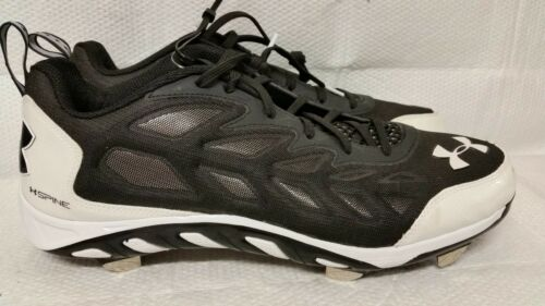 NEW MEN/'S UNDER ARMOUR SPINE METAL LOW BLACK W// WHITE BASEBALL CLEATS
