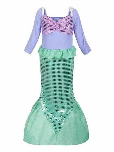 Little Mermaid Children Kids Girls Costume Princess Party Dress Up Halloween