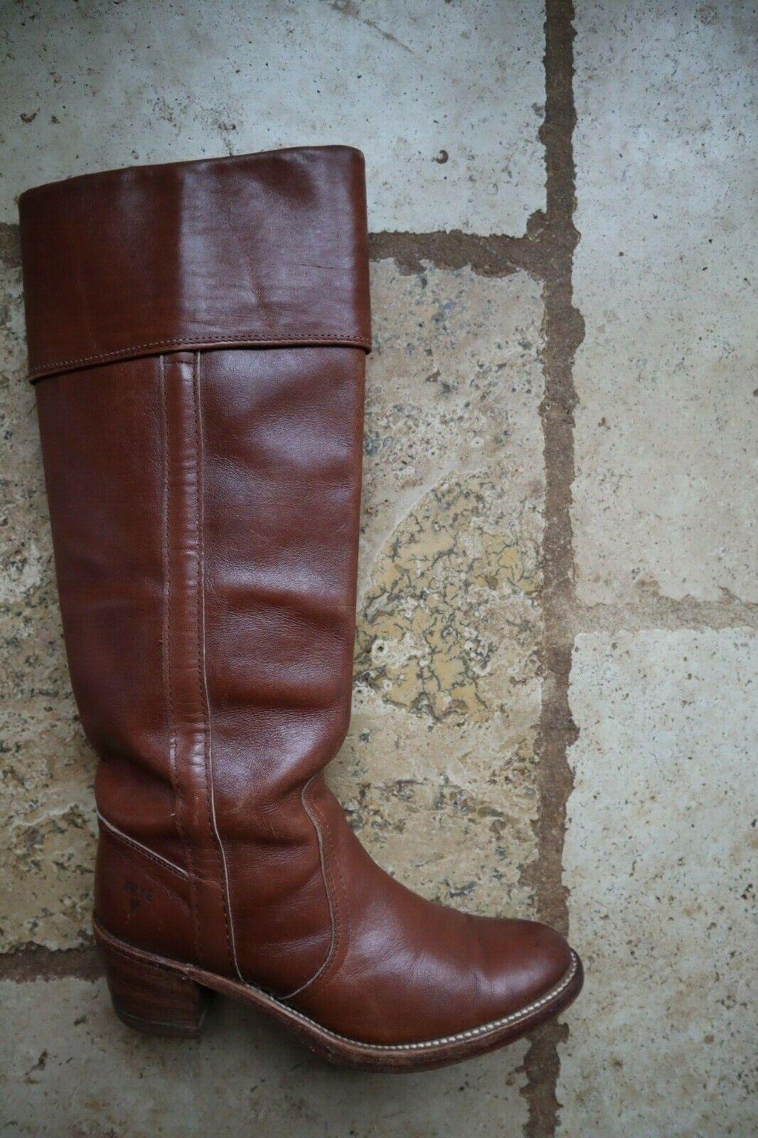 Caramelo Marrón Oscuro Vintage Frye botas de estilo 8515 de alto con puño campus 7.5 B