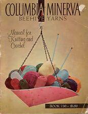 Columbia Minerva Beehive Yarns Book 730 Manual Knitting Crochet Patterns 1960