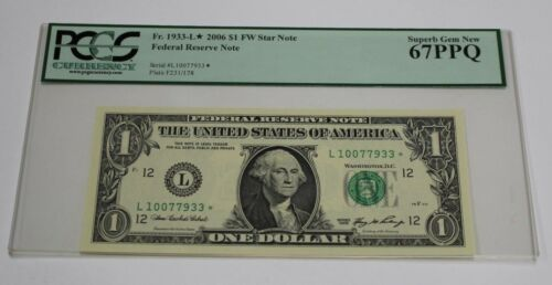 Fr 1933-L 2006 One Dollar Star Note 1 San Francisco PCGS 67 PPQ Superb GEM New