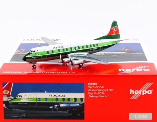 Herpa 1:200-556866 Manx airlines Vickers Viscount 800-nuevo embalaje original