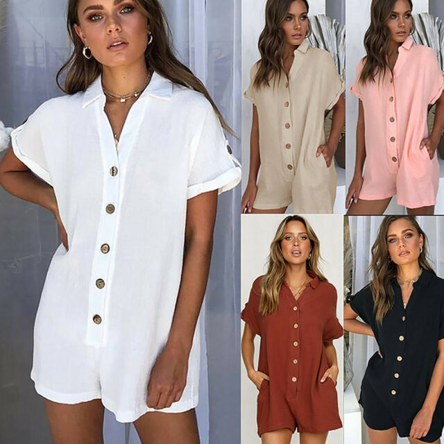 Women Loose Fit Mini Jumpsuit Playsuit Romper Summer Beach Holiday Kaftan Cover