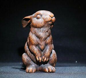 noble natural boxwood carving Lovely rabbit zodiac statue Netsuke decor figurine