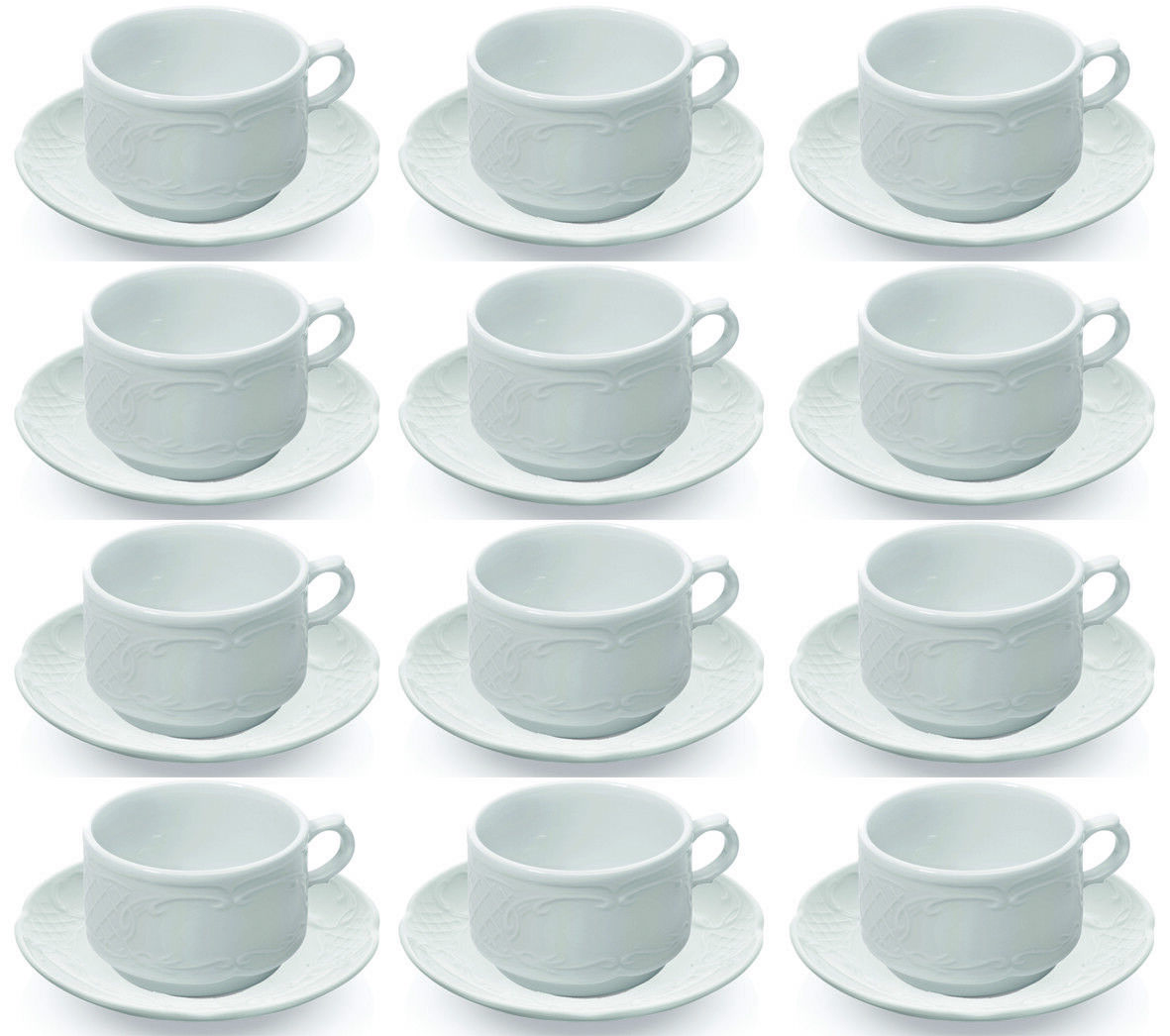 12x Cappuccino Set, Cappuccino, Cappuccino Tasse, 0,22 l, Porcelaine Blanc
