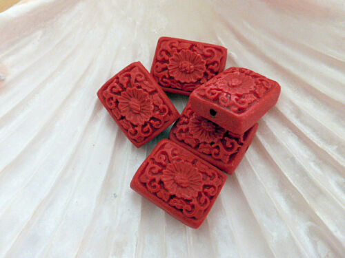 5 x Carved Faux Cinnabar Lacquerware Flower Rectangle Beads Red 21mm Resin