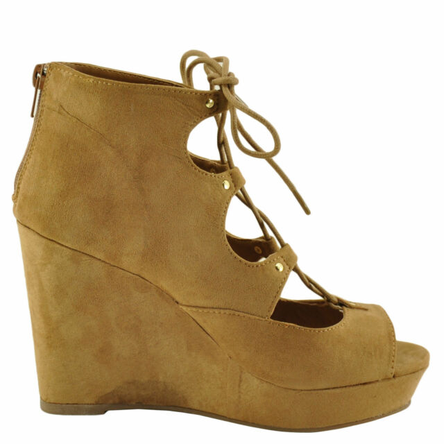 Buy Women s Shoes Bamboo Parker 43s Lace up PEEP Toe Platform Wedge ... 9b7ddd532d37
