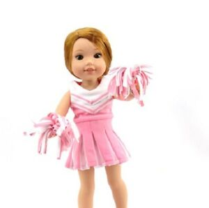 daacc3e34 Details about Pink Cheerleader Dress Pom Poms Fits Wellie Wishers 14.5