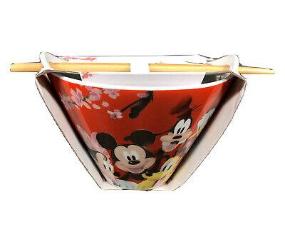 Disney Mickey Mouse /& Friends Noodle Bowl w//Chopsticks Minnie Goofy Pluto NWT