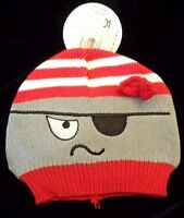 Baby Boys Gray Red Pirate Knit Halloween Hat Well Made Cute 0-6 Mon