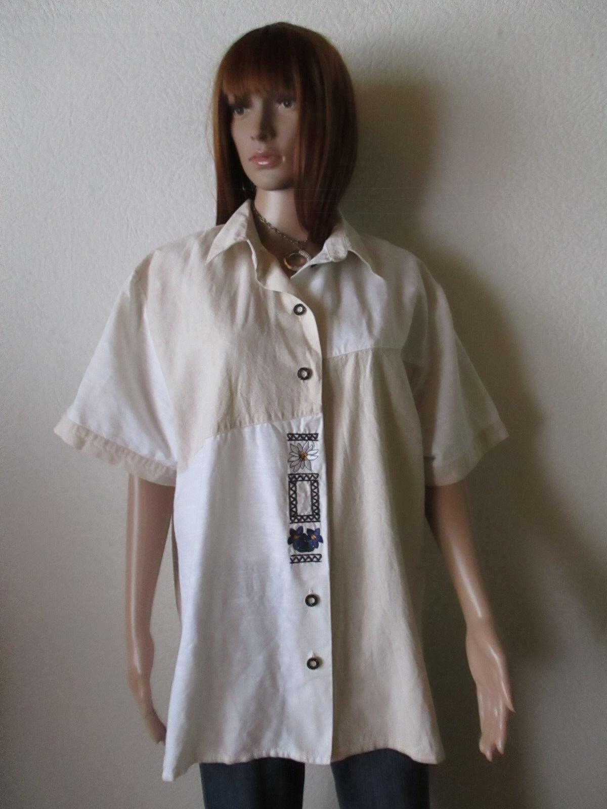 Damen Trachten Bluse Gr.XL beige 1/2 Arm