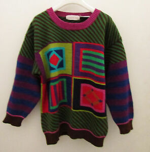 Girls-CHRISTINE-FOLEY-Bright-Geometric-Pattern-Sweater-Size-10-F7
