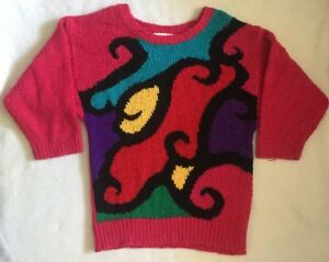Vtg-90s-M-Sweater-Pink-Red-Color-Block-Retro-Rave-Club-Geometric-Fresh-Prince