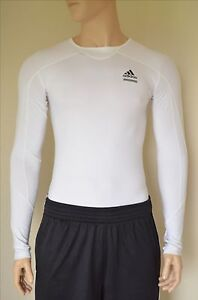 843cd331e NEW Adidas TechFit Long Sleeve LS Base Layer Compression Shirt White ...