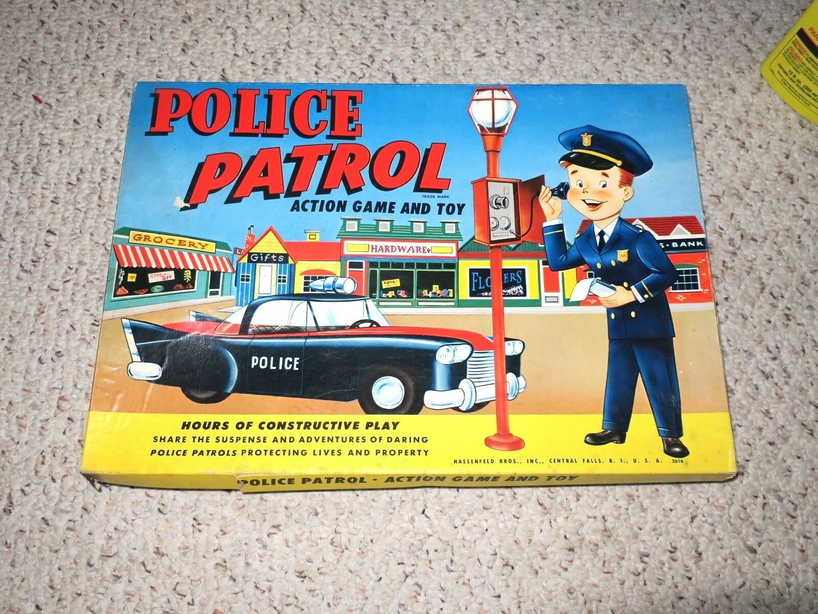 1958 Police Patrol Action Game Game Game & Toy Game Hassefeld Bros (Hasbro) RARE Complete b55e9b