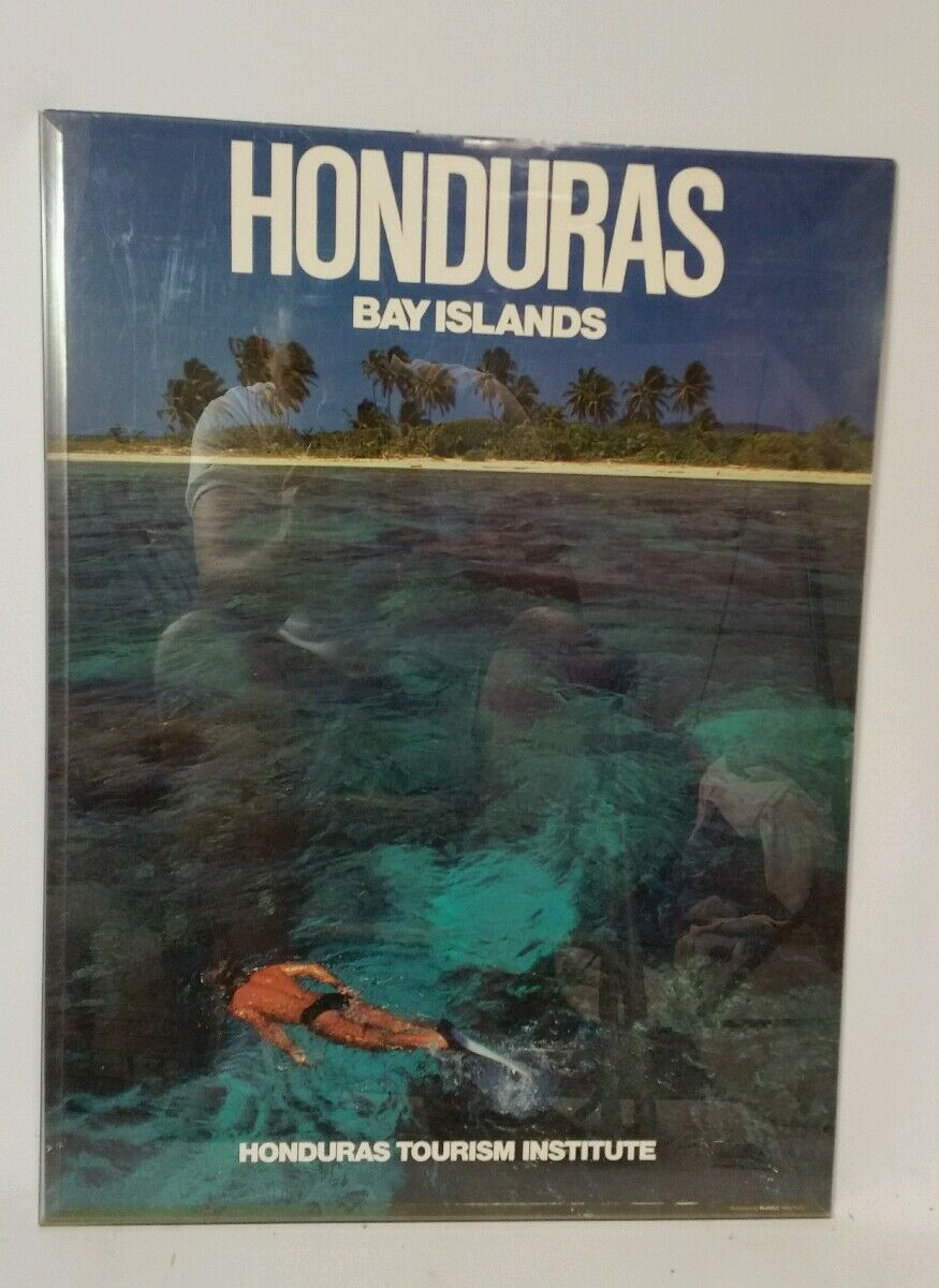 Vintage 80s Honduras Bay Islands Scuba Diving Snorkeling Poster Diver Coral Reef