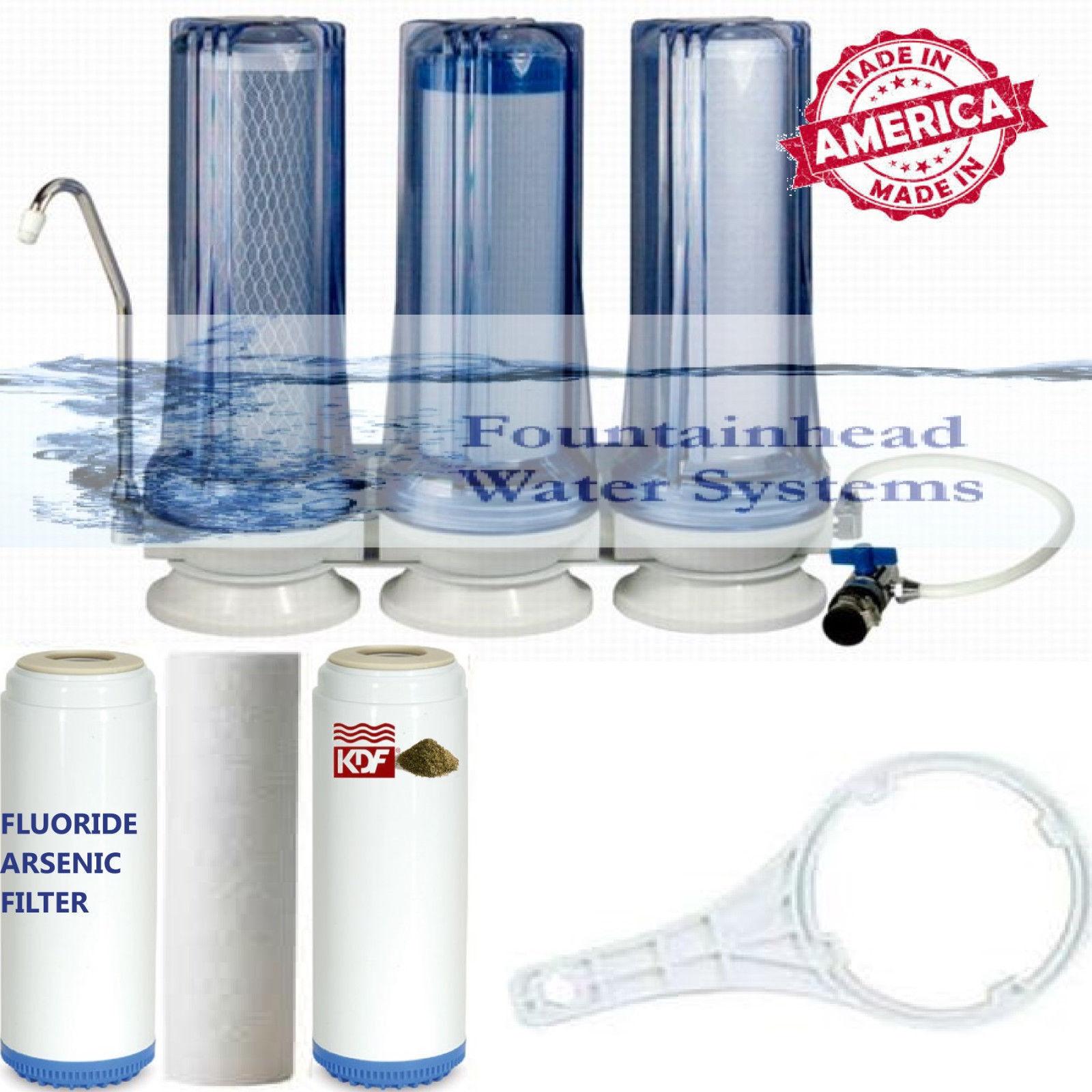 3 étape Comptoir Filtre à Eau Fluoride carbone KDF Robinet Adaptateur