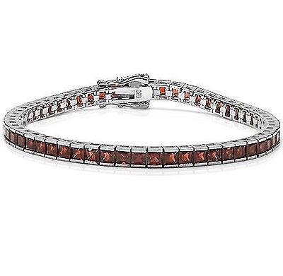 Garnet Gemstone Square Eternity Sterling Silver Bracelet