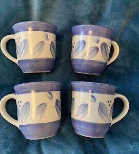 4-Pfaltzgraff-Villa-Flora-Mugs-Coffee-Cups-Blue-Leaf-Flower-Design