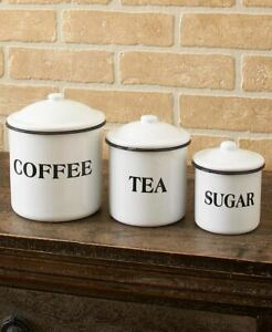 Set-Of-3-Canisters-Country-Enamelware-Kitchen-Counter-Food-Storage-Home-Decor