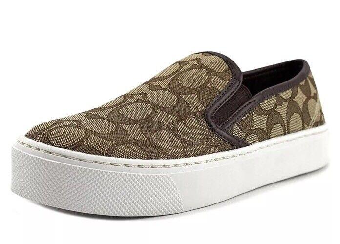 New COACH Womens 8.5 M Cameron Outline Sig C/Nap Khaki Chestnut Slip On Sneakers