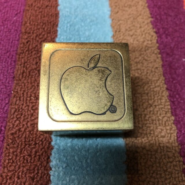 Vintage 1983 Apple Computer Brass Cube Paperweight
