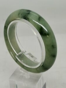 57.5mm Ice Green Burmese Jadeite Jade Bangle Bracelet/冰飘花天然缅甸翡翠平安手镯/天然ビルマ翡翠バングル