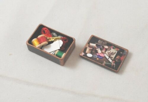 "dollhouse miniature 1//12/"" scale G7047 metal Antique Sewing Box w// Accessories"