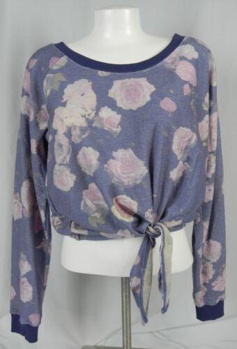 D1-22 NEW Deb Purple /& Pink Floral Knit Long Sleeve Font Tie Sweatshirt Blouse