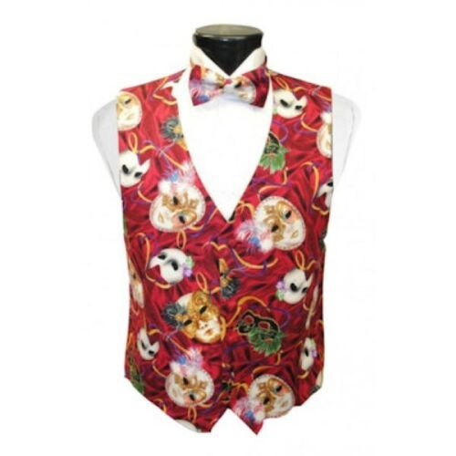 Mardi Gras Phantom Mask Tuxedo Vest and Bow Tie