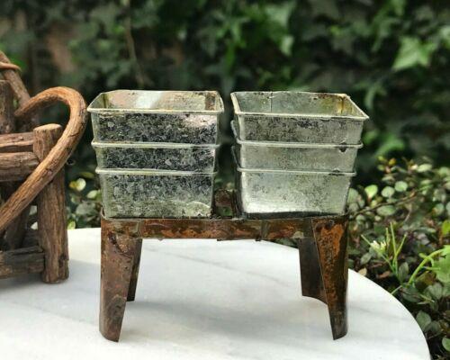 Miniature Dollhouse FAIRY GARDEN ~ Mini Rustic FARM Metal Square Tubs w// Stand