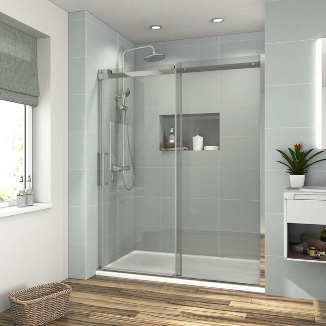 60 X 72 Frameless Sliding Shower Door Screen 5 16 Clear Gl Brushed Nickel