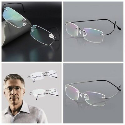 1x Neue Ultralight Memory Titanium Randlose Rechteckige Brillen Lesebrille Hq Direktverkaufspreis